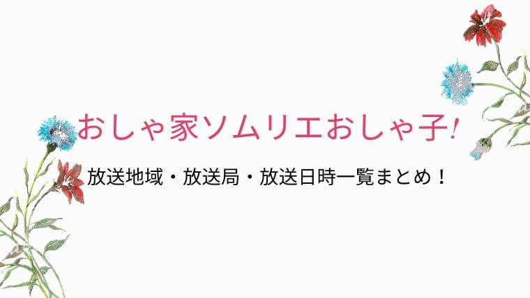 おしゃ家ソムリエおしゃ子!放送地域・放送局・放送日時一覧まとめ!いつどこで放送?